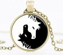 Charms Halskette mit Pferdeanhänger Yin Yang