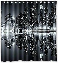 CHATAE New York Skyline Schwarz und weiß Vorhang