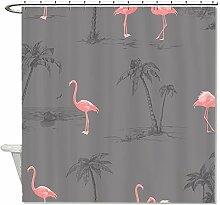 CHATAE Schimmelresistent Stoff Pink Flamingos Grau