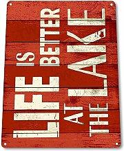 Chawuux Blechschild B775 Life Better at Lake Beach
