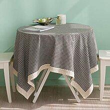 Checkered Table Runde Tischdecke Baumwolle Leinen