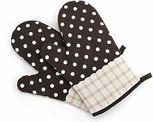 Cheerlife 1 Paar Hitzebeständige Ofenhandschuhe aus Baumwolle Küche Backhandschuhe Grillhandschuhe Topfhandschuhe, eine schöne kleine Geschenkidee (Braun)