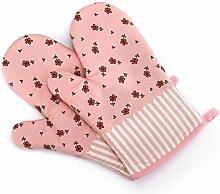 Cheerlife 1 Paar Hitzebeständige Ofenhandschuhe aus Baumwolle Küche Backhandschuhe Grillhandschuhe Topfhandschuhe, eine schöne kleine Geschenkidee (Pink)
