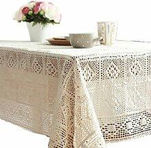 Cheerlife Baumwoll-Stoff Tischdecke Häkeln Eckig Rund Tischtuch Couchtisch Tuch Schmutzabweisend Farbe & Größe wählbar rund 120cm