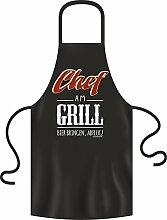 Chef am Grill - Grillschürze Einheitsgrösse 100% Baumwolle - BBQ, Bar-B-Q, BBQ, Partyschürzen