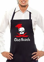 Chefkoch - Zweifarbig - Grillschürze Schwarz / Rot-Weiss
