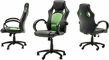 "Chefsessel Sportsitz Stuhl Bürostuhl Drehstuhl Schalensitz Büro Sessel ""Rick I"" (schwarz/grün)"