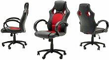 "Chefsessel Sportsitz Stuhl Bürostuhl Drehstuhl Schalensitz Büro Sessel ""Rick I"" (schwarz/rot)"