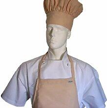 Chefskin Adult Set Apron + Hat Beige Kakhi Capuccino Ultra Lightweight by CHEFSKIN