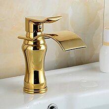 CHEN Küchenarmatur Wasserfall Gold Wasserhahn