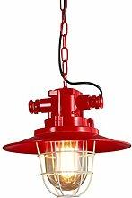 chen Retro- Restaurant-Kronleuchter-Korridor-Eisen-Retro- kreative Lampen E27 Lampen-Hafen ( Farbe : Rot )