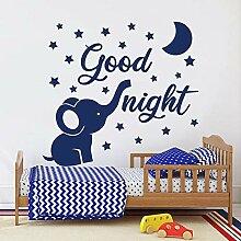chenche Elefant Wandtattoos Mond und Sterne