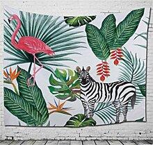 chengsan Flamingo Decor Kollektion, Beispiel Flamingo mit Tropical Garden Hibiskus Flower Plant Vintage Print, Schlafzimmer Wohnzimmer Wohnheim Wandbehang Wandteppich, 129,5x 149,9cm, grün pink blau, Polyester-Mischgewebe, 4, 59x79 inch