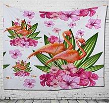 chengsan Flamingo Decor Kollektion, Beispiel Flamingo mit Tropical Garden Hibiskus Flower Plant Vintage Print, Schlafzimmer Wohnzimmer Wohnheim Wandbehang Wandteppich, 129,5x 149,9cm, grün pink blau, Polyester-Mischgewebe, 5, 59x79 inch