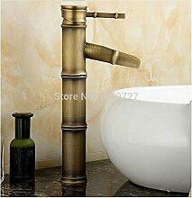 ChengSui Deck Montiert Antik Bronze Wasserfall Wasserhahn Bad Schiff Waschbecken Mischbatterie Brass Classic Design Style, Bronze, Gelb