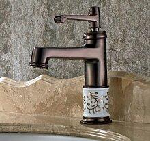 ChengSui Tippen Sie Auf Neu Euro Vintage Style Waschbecken Wasserhahn Öl Eingerieben Bronze Rot Bad Wasserhahn Mischbatterie Deck Montier