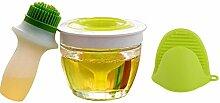 CHENGXINGF Silikon Pinsel Öl Flasche Küche liefert Mehrzweck-Grill Pinsel Öl Flasche Eine Bürste (Grün)