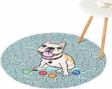 CHENGYANG Rutschfeste Teppich Runde Weich Teppich für Wohnzimmer Schlafzimmer und Bad Matten (Stil#1, 120*120cm)