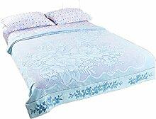 CHENGYI Baumwoll-Blau Normallack-Blumen-Muster Einzelnes oder doppeltes einfaches und modernes Hauptgewebe-Wolldecke-Decke 210 * 162cm