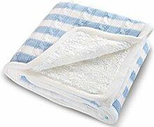 CHENGYI Baumwollblaues wei?es Streifen-Normallack-strickendes Muster Einzelnes oder doppeltes einfaches und modernes Hauptgewebe-Wolldecke 200 * 150cm