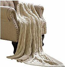 CHENGYI Baumwolle Beige Strickstreifen Blumenmuster Single Einfache und moderne Heimtextilien Wolldecke 125 * 150cm