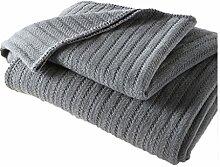 CHENGYI Baumwolle Grau Streifen Muster Einzel-oder Doppel-Einfache und moderne Heimtextilien Wolle Blanket 150 * 200cm