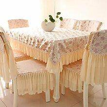CHENGYI Beige Rosa Spitze Tischdecke Blumenmuster