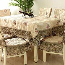 CHENGYI Beige Spitze Tischdecke Blumenmuster