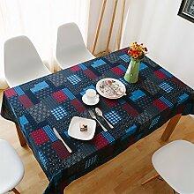 CHENGYI Blaues Rot Blumenmuster Tuch Tischdecke