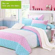 CHENGYI Blue Pink Star Pattern Heimtextilien Quilt Cover Einzelstück Cotton Student Single Double Quilt Cover ( größe : 200*230cm )