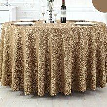 CHENGYI Brauner Streifen Blumenmuster Tuch Tischdecke Weich Modern Einfach Mode Upscale Wohnzimmer K¨¹che Restaurant Hotel Heimtextilien (Dieses Produkt verkauft nur Tischt¨¹cher) Durchmesser 180cm