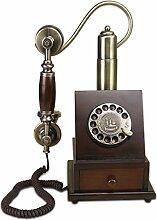 CHENGYI Im europäischen Stil retro massivholz prozess drehen wählen telefon home office kreative mode landline