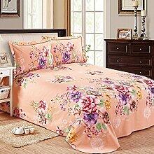 CHENGYI Orange Rosa Blumenmuster Baumwolle Coarse Tuch Bett Bettwäsche Einzelstück 1.5m 1.8m 2.0m Bett Bett Blatt Vier Jahreszeiten Modern Einfache Heimtextilien ( größe : 200*230cm )