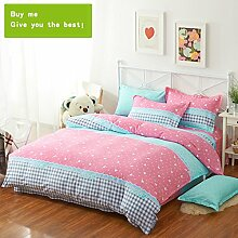 CHENGYI Pink Blue Pattern Heimtextilien Quilt Cover Einzelstück Cotton Student Single Double Quilt Cover ( größe : 180*220cm )