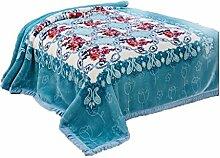 CHENGYI Polyester Blau Rosa Blumenmuster Einzel oder Doppel Einfach und Modern Heimtextilien Wolldecke 135 * 200cm
