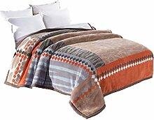CHENGYI Polyester Braun Grau Streifen Blumenmuster Einzel-oder Doppel-Einfache Und Moderne Heimtextilien Wolle Blanket 230 * 200cm