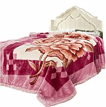 CHENGYI Polyester Gelb Rosa Blumenmuster Einzel oder Doppel Einfach und Modern Heimtextilien Wolldecke 155 * 205cm