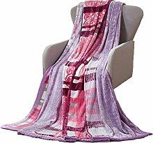 CHENGYI Polyester Pink Lila Streifen Blumenmuster Single oder Double Einfache und moderne Heimtextilien Wolldecke 150 * 200cm