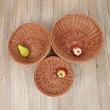 CHENGYI Rattan Obstkorb Obst Tablett Getrocknete Obst Platte Bambus Korb Korb Brot Tray Pflanze Material Hand Made ( Farbe : Braun , größe : B )