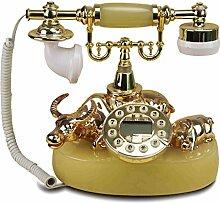 CHENGYI Retro-handwerk Geschenk Rinderform Telefon Europäischen Stil Hause Kreative Büro Festnetz ( Farbe : Yellow jade color )