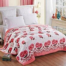 CHENGYI Rosa Blumenmuster Dicker Bettblätter Herbst und Winter Warmes Bettdecken Double 1.5m 1.8m Bett Wolldecke Decke ( größe : 180*200cm )