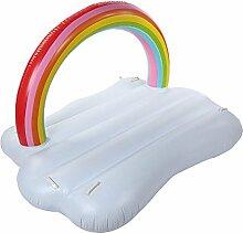 CHENGYI Schwimmendes Bett, Verdicken Sie Regenbogen-Wolken-aufblasbares sich hin- und herbewegendes Reihen-Bett, Swimmingpool-Floss-aufblasbares Spielzeug-erwachsenes u. Kind-sich hin- und herbewegendes Bett-Wasser-Erholungs-Stuhl 250 * 220 * 160cm