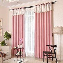 CHENGYI Sonnenschutz Vollschirm Boden Vorhänge Schlafzimmer Vorhänge Blackout Ready Made Öse Blackout Vorhänge Für Wohnzimmer Mit Zwei Passenden Tie Backs 2 Panels ( Farbe : Pink , größe : 2.0*2.7m )