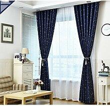 CHENGYI Sternmusterisolierung Sonnenschutz-volle Schatten-Boden-Vorhänge Schlafzimmer-Vorhänge Verdunkelungs-vorgerückte Öse-Verdunklungs-Vorhänge für Wohnzimmer mit zwei zusammenpassenden Riegel-Rückseiten 2 Platten ( Farbe : A , größe : 2.5*2.7m )