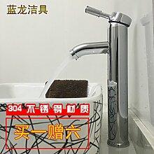 ChengZIKunst Becken, voll Kupfer Waschbecken Wasserhahn, Warmes und Kaltes tippen, Plattform Waschbecken Armatur, Waschtisch, Waschbecken, Kopf, Einloch, [Edelstahl] heben (ein Geschenk kaufen sechs)