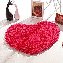 Chenille Bodenmatten Türmatten Wohnzimmer Schlafzimmer Mats Badezimmer-Matten-Matten Badezimmer Matten ( Farbe : Rose red )