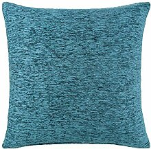 Chenille Cushion Cover Teal Blue 18x18 by Ideal Textiles