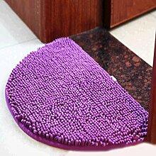 Chenille Halbkreis Teppich Zuhause Wohnzimmer Schlafzimmer Badezimmer Badezimmer Rutschfest Wasseraufnahme Türmatten Teppich , purple , 60*90