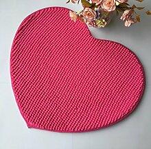Chenille Heart-Shaped Teppich Enter Tür Pad Schlafzimmer Wohnzimmer Matten , fuchsia