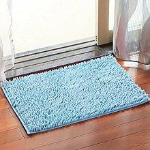 Chenille Schlafzimmer Teppich Kaffetisch Sofa Badezimmer Rutschfeste Matte Küche Wasseraufnahme Teppich Türmatten , days blue , 40*60cm